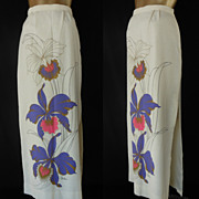 Vintage 70s Maxi Skirt - Alfred Shaheen Signature Purple & Pink Orchid Screenprint with Metall