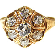 Antique Estate Diamond Cluster Ring 14K Yellow Gold Victorian