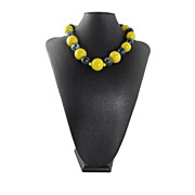 Antique Yellow Peking Glass and Jasper Necklace