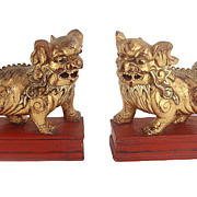 Pair Antique Gilded Chinese Foo Dog/Lion Guardians