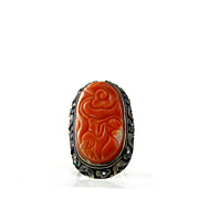 Carved Coral and Enamel Ring
