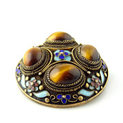 Chinese Cloisonne and Tiger Eye Brooch