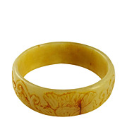 Yellow Nephrite Jade Lotus Bangle Qing Dynasty 18th Century