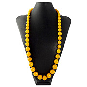 Baltic Amber Egg Yolk Long Necklace 131.9 Grams 14K Gold Clasp