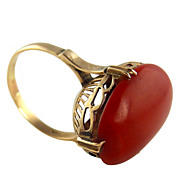 Antique Oxblood Coral 18K Ring