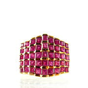 Art Deco Style 5 Carat Burma Ruby 14K Gold Ring