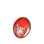 Antique Carnelian Intaglio Seal 14K Gold Ring