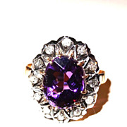 Antique Victorian 18K Gold Amethyst and Rose Diamond Ring