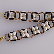 SALE Baroque cultured pearls flower garland bracelet