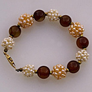 SALE Carnelian and cultured pearls bracelet with beaded beads
