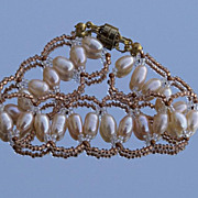 SALE Zigzag cultured pearls bracelet in peach and copper