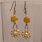 SALE Small dangle earrings with natural amber and cultured pearls, 20% off!