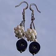 SALE Black and white earrings with tiny stars. Black onyx and cultured pearls