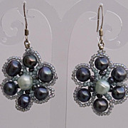 SALE Peacock cultured pearls daisy earrings