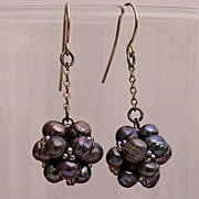 SALE Black pearls cluster earrings on a short chain, 20% off!