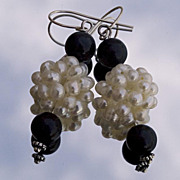 SALE Black stone and cultured pearls earrings. Bead cluster earrings