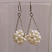 SALE Pearl cluster dangle earrings. Pearl ball modern earrings. 20% off!