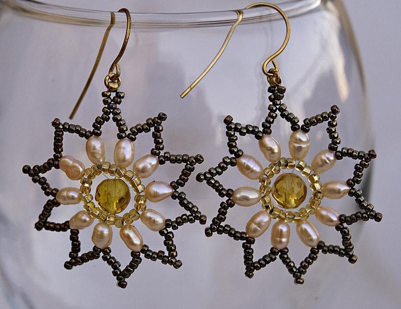 Citrine and cultured pearls star shaped earrings