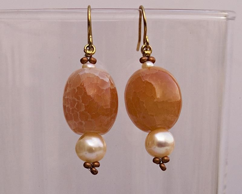 Soft orange agate dangle earrings