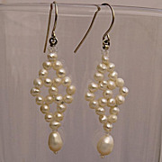 SALE Cultured pearls earrings in 17th century style. Rhomb shaped dangle earrings