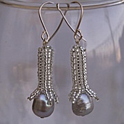 SALE Silver bud earrings with cultured pearls. Small dangle earrings