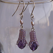 SALE Amethyst bud earrings. Small purple lavender dangle earrings, 20% off!