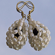 SALE Cultured pearls and black onyx drop shaped bead woven earrings