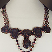 SALE Dramatic bead woven necklace with pietersite stones in Medieval style