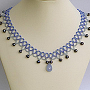 SALE Delicate collar necklace with faceted chalcedony briolette