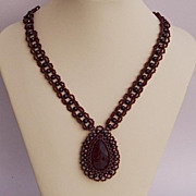 SALE Fantastic bead woven ruby necklace in Victorian style, 20% off!