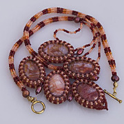 SALE Agate bead woven necklace �Autumn leaf�, 20% off!