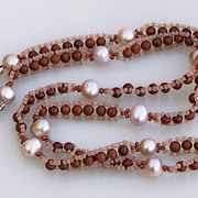 SALE Long beaded chain necklace, red jasper and pink cultured pearls, 20% off!