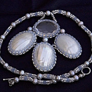 SALE Clear quartz and Osmina shell bead woven necklace �Moon glow�