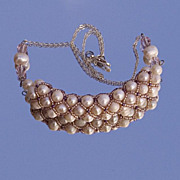 SALE Cultured pearls necklace in lavender bead woven net