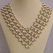 SALE Wide 7 rows cultured pearls collar necklace