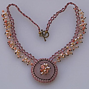 SALE Rose quartz necklace with pink coral and cultured pearls