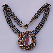 SALE Banded agate in spiral setting. Pendant necklace in terracotta, black and white
