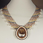 SALE Bead woven necklace with glass stone and cultured pearls. 20% off!