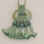 SALE Dramatic blue-green jade pendant with heavy fringe, 20% off!
