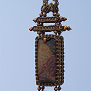 SOLD Dramatic pendant with Picasso jasper in Japanese style - Red Tag Sale Item