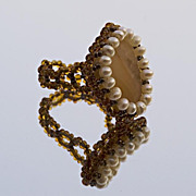 SALE Bead woven cocktail ring, yellow agate peddle and cultured pearls
