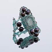 SALE Cocktail ring with aquamarine and cultured pearls