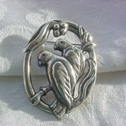 Vintage Sterling Signed Gual's Mexico LOVE BIRD'S Brooch / Pin