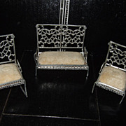 SALE Antique Soft Metal Dollhouse Settee and Chairs