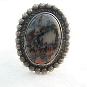 Vintage  800 Silver Native American  Picture Agate Ring *