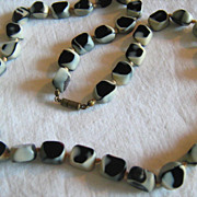 SALE PENDING RESERVED For EILEEN ** Black Amethyst  Molded Glass beaded Necklace Jewelry RARE