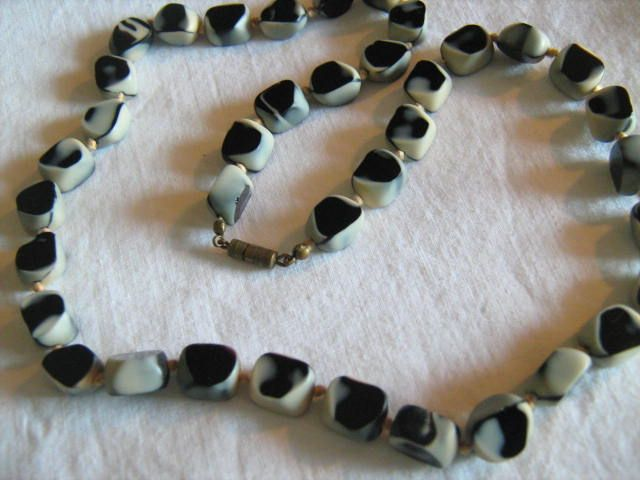 RESERVED For EILEEN ** Black Amethyst  Molded Glass beaded Necklace Jewelry RARE