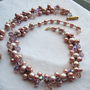 Vintage PINK Cluster Beaded Necklace & Bracelet DEMI