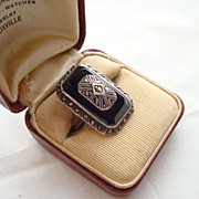 HUGE Art Deco Era Sterling Silver Onyx & Marcasite RING