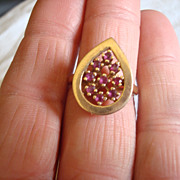 Beautiful Vintage 10K GOLD & RUBY Ring * Unique & BiG